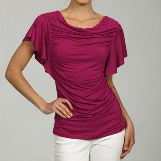 Cable & Gauge Womens Flutter Sleeve Top with Ruched Sides