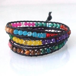 Multi Gemstone Treasure Triple Wrap Leather Bracelet (Thailand