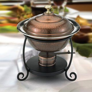 Old Dutch Round Antique Copper Chafing Dish