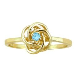 10k Gold March Birthstone Sky Blue Topaz Designer Love Knot Ring