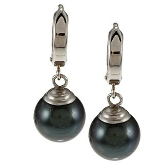 Miadora 10k White Gold Black Tahitian Pearl Dangle Earrings (9 10 mm