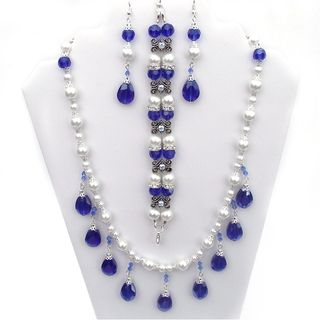 Sapphire Blue Crystal and White Glass Pearl Jewelry Set