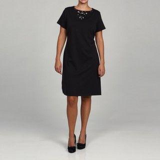 Jessica Howard Womens Plus Short Sleeve Necklace Dress