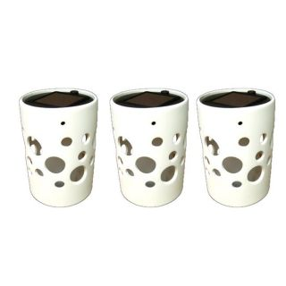 White Cylinder Ceramic Solar Lights Pot with Bubble Cutouts (Set of 3