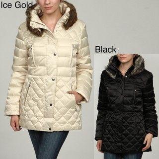 Esprit Womens Quilted Faux Fur Collar Coat