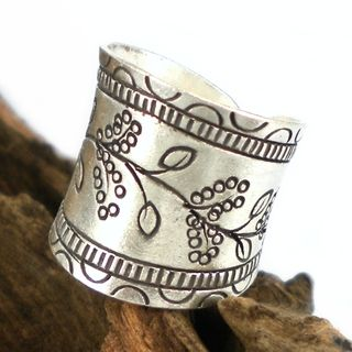 Floral Vines Thai Karen Hill Tribe Fine Silver Wrap Ring (Thailand