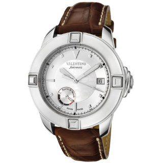Valentino Mens 8721196015 S117 Automatic Silver Dial Brown Alligator