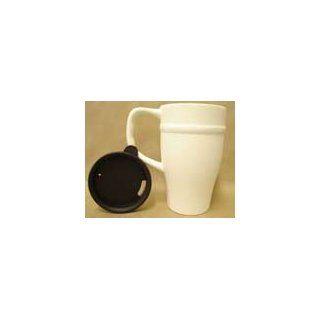 Ceramic bisque unpainted commuter mug and lid 6h 3.5d