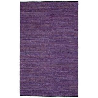 Hand woven Matador Purple Leather Rug (5 x 8)
