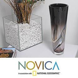 Murano Glass Black Tulip Handblown Vase (Brazil)