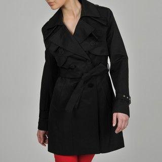 Tahari Ruffle Front Luxury Trench Coat