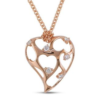 18k Pink Gold 1/6ct TDW Diamond Heart Necklace (G H, VS1 VS2