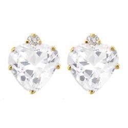 10k Gold White Topaz and Diamond April Birthstone Heart Earrings