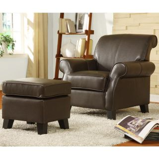 Noho Dark Brown Bonded Leather Club Chair with Ottoman