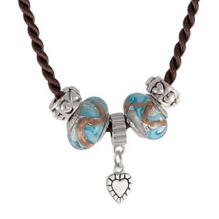 Lucien Piccard Sterling Silver Murano Glass Bead Necklace
