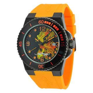 Ed Hardy Mens Steel Dive Immersion Dragon Watch