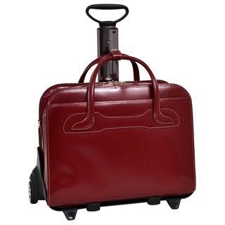 McKlein Red Willowbrook Detachable Wheeled Laptop Briefcase
