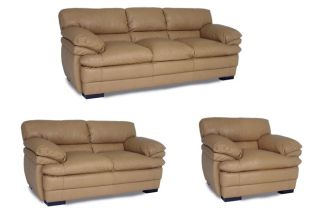 Dalton Tan Leather Sofa, Loveseat and Chair