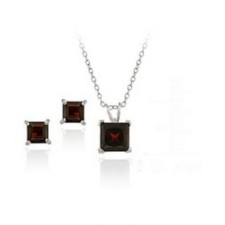 Glitzy Rocks Sterling Silver Garnet Solitaire Square Earring and