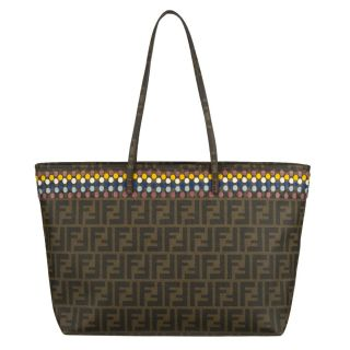 Fendi Roll Bag Coated Canvas Tote