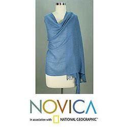 Angora Wool Azure Meditation Shawl (India)