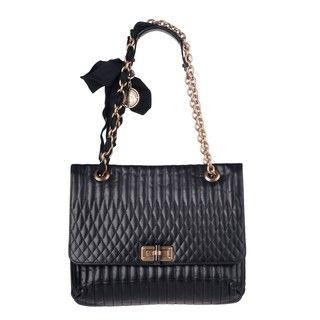 Lanvin Happy Black Crinkled Leather Shoulder Bag