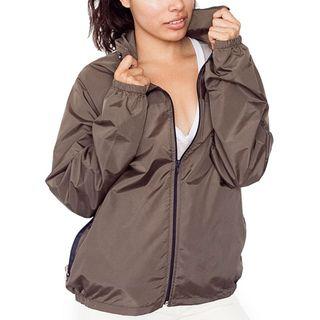 American Apparel Unisex A Way Nylon Taffeta Brown/ Navy Jacket (Medium