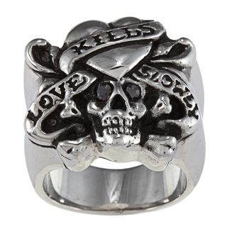 Ed Hardy Stainless Steel Love Kills Slowly Cubic Zirconia Ring