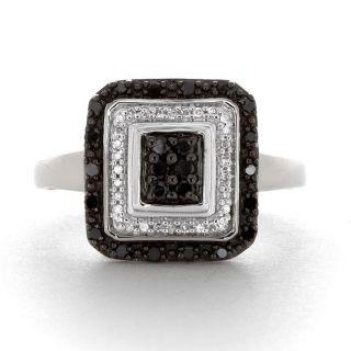 Sterling Silver 1/3ct TDW White and Black Diamond Ring (I J, I2 I3