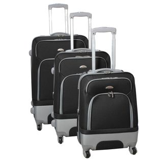 Mobility Dejuno Black 3 piece Expandable Spinner Luggage Set