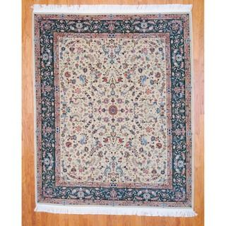 Sino Hand knotted Tabriz Beige/ Green Wool/ Silk Rug (8 x 10