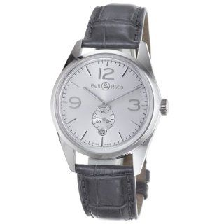 Bell & Ross Mens BR123 OFICERSLV Vintage Black Leather Strap Watch