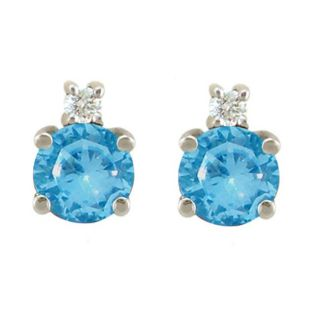 10k Gold December Birthstone Swiss Blue Topaz/ Diamond Stud Earrings