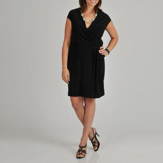 Lennie for Nina Leonard Womens Black Faux Wrap Plus size Dress