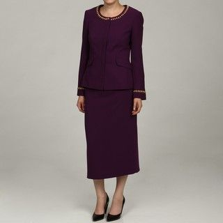 John Meyer Womens Violet Trimmed Skirt Suit