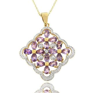 Gold over Silver Amethyst and Diamond Accent Flower Necklace