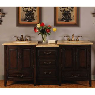 Silkroad Exclusive 72 inch Stone Counter Top Bathroom Vanity Lavatory
