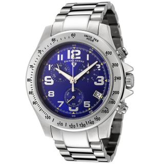 Swiss Legend Mens Eograph Blue Dial Stainless Steel Chronograph Watch