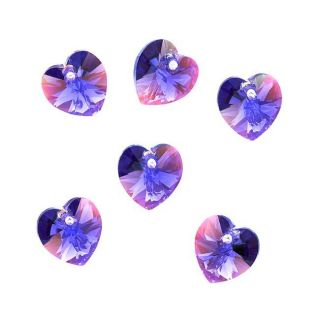 Beadaholique Tanzanite Ab 10mm Crystal Heart Pendant