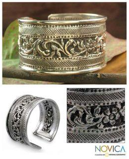 Sterling Silver Majestic Garland Cuff Bracelet (India)