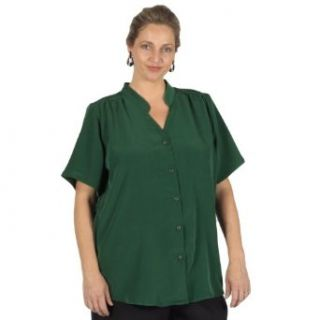 Forest Green Mandarin Collar V Neck Tunic Plus Size Woman