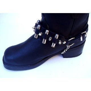 Western Boot Chain Black Leather Harness Strap with 9MM Bullets Shoes