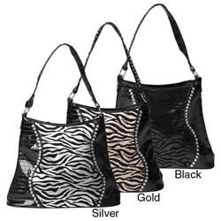 Sofia Bellini Womens Flocked Zebra Print Rhinestone Detail Tote Bag