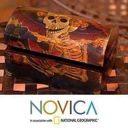 Handcrafted Pinewood Catrina My Love Decoupage Chest (Mexico