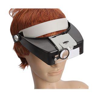 Loupe Magnifier Lens Visor 10X Black/ Cream 2 light Magnifying Glass