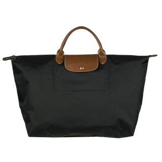 Longchamp Le Pliage Black Nylon Brown Leather Handle Travel Bag