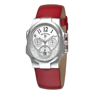 Philip Stein Womens Signature Classic Chrono Red Strap Watch