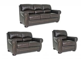 Benjamin Brown Leather Sofa/ Loveseat/ Chair Set