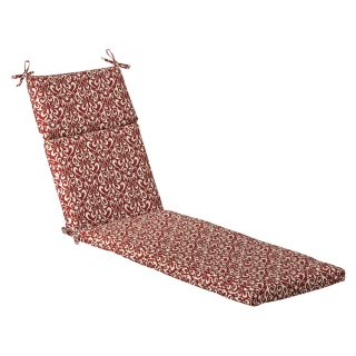 Pillow Perfect Outdoor Red/ White Damask Chaise Lounge Cushion