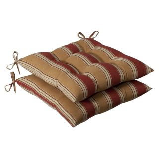 Pillow Perfect Outdoor Red/ Gold Stripe Tufted Seat Cushions (Set of 2